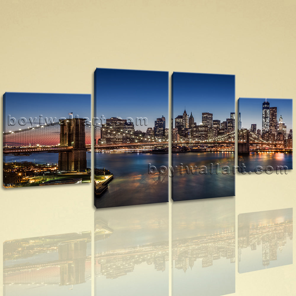 Large Cityscape Wall Art Sunset Painting Dining Room Tetraptych Pieces Print