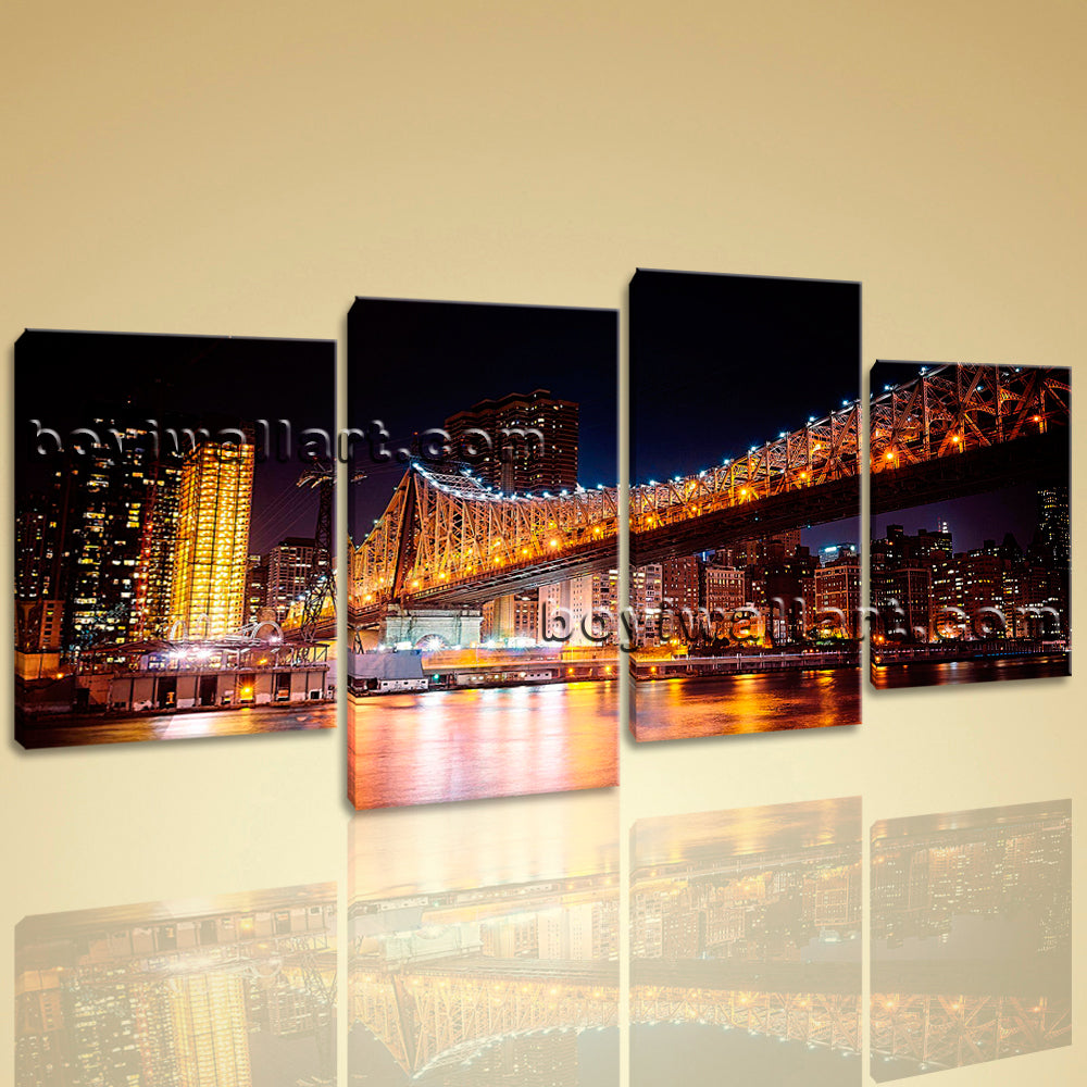 Large Contemporary Wall Art Canvas Print Abstract Landscape Night Scene Bridge