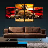 Large Feng Shui Print Buddha Painting Abstract Home Dining Room Four Pieces