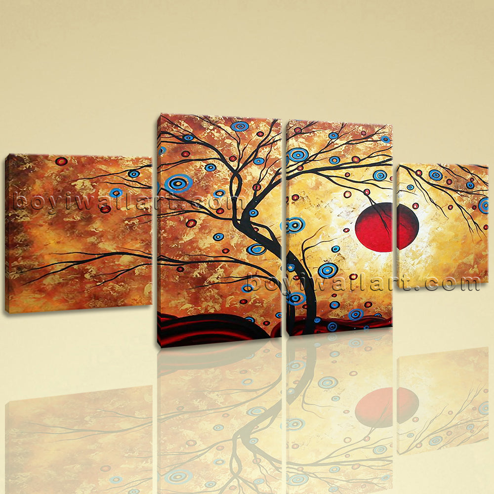 Large Feng Shui Picture Abstract Canvas Art Home Dining Room Four Panels Print