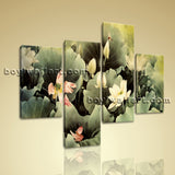 Large Floral Wall Art Water Lily Abstract Living Room Tetraptych Pieces Print