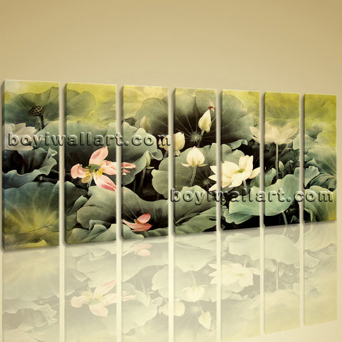 Framed Water Lily Flower Chinese Painting Abstract Floral Canvas Print Wall Art