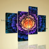 Large Floral Hd Print Flower Abstract Wall Art Living Room Tetraptych Pieces
