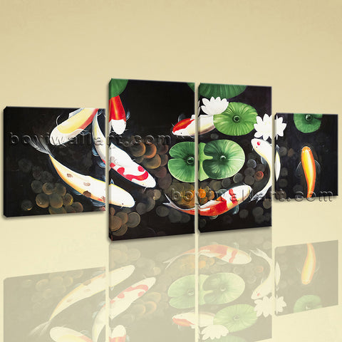 Large Feng Shui Canvas Art Koi Fish Hd Print Abstract Wall Four Panels