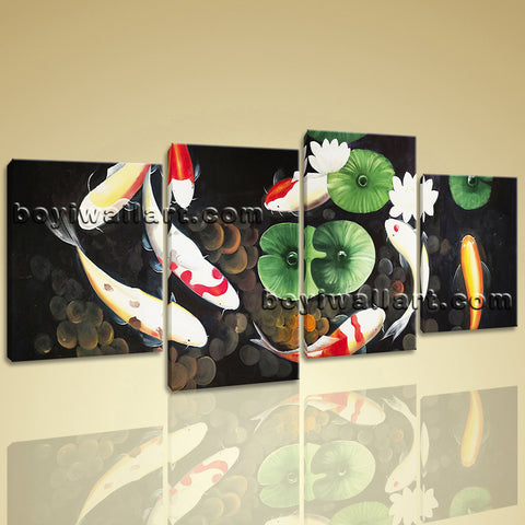 Large Abstract Feng Shui Painting Zen Wall Art Print Canvas Stretched Koi Fish
