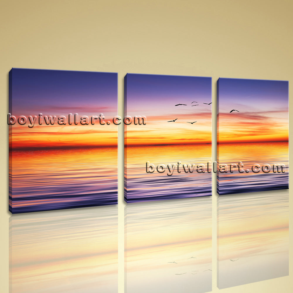 Large Contemporary Canvas Wall Art Sunset Landscape Painting HD Print Framed