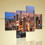 Large Cityscape Canvas Art Sunset Wall Decor Painting Living Room 4 Panels print