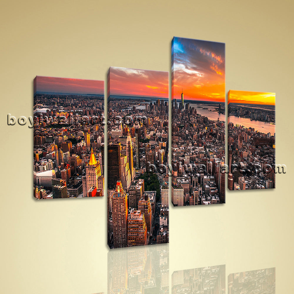 Large Cityscape Painting Sunset Wall Art Living Room Tetraptych Panels print