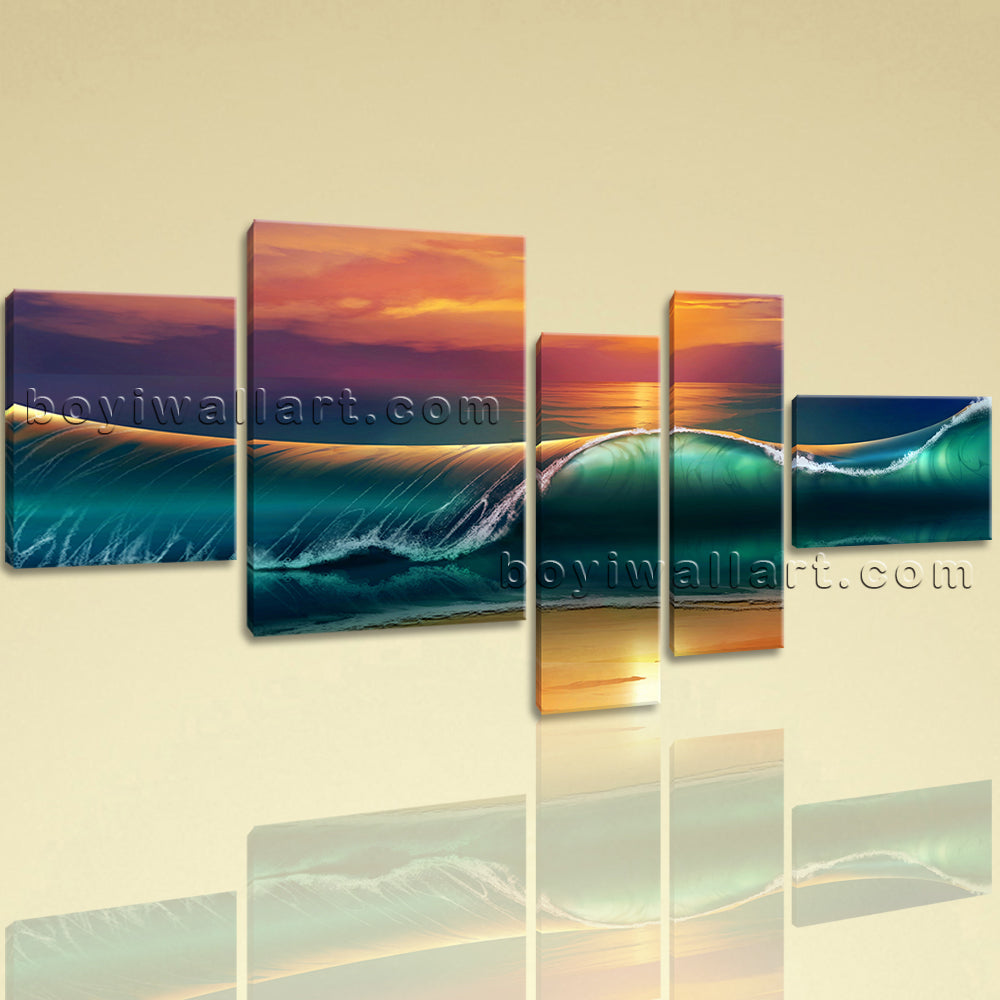 Extra Large Seascape Print Sunset Wall Decor Abstract Home Bedroom 5 Panels  Art