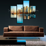 Large Architecture Picture Cityscape Abstract Living Room Four Panels Print
