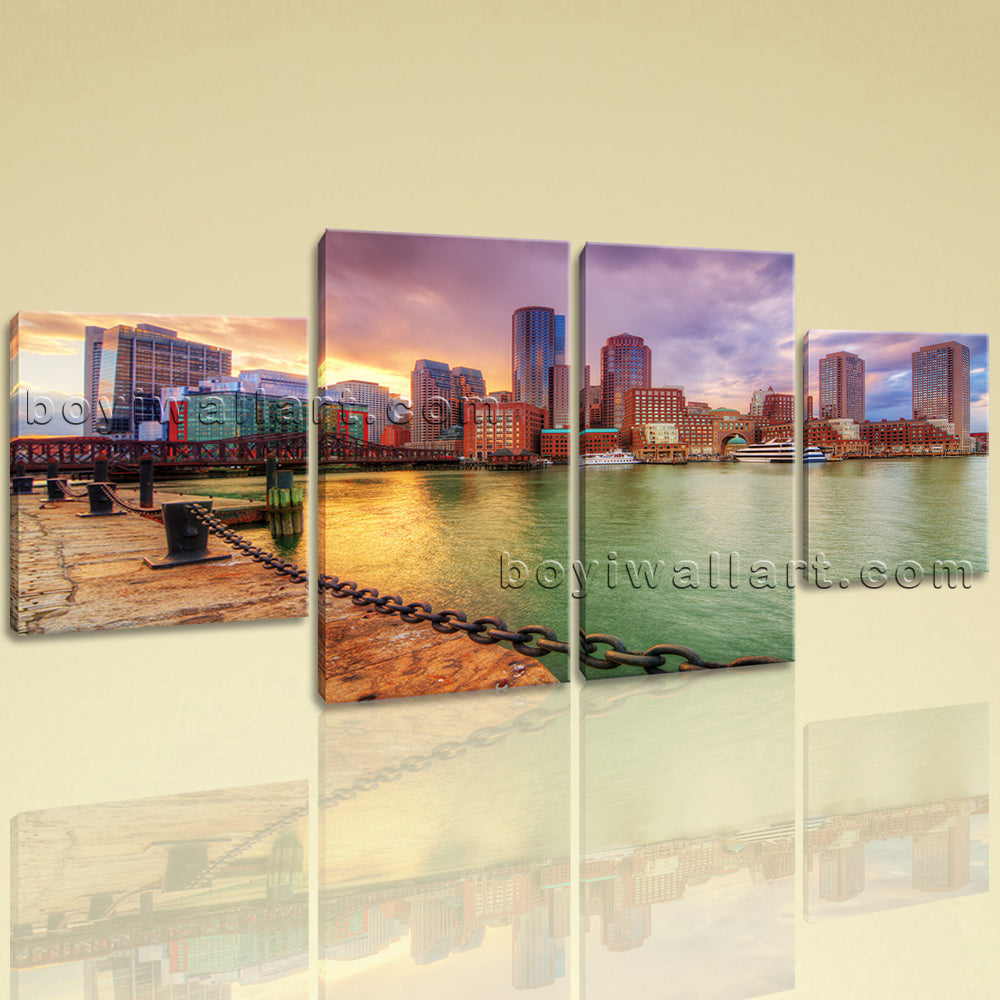 Large Cityscape Picture Sunset Wall Art Dining Room Tetraptych Pieces Print