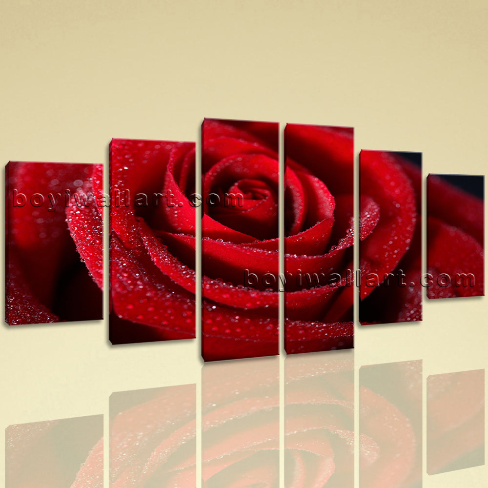 Large Floral Wall Art Rose Flower Hd Print On Canvas Dining Room Six Panels