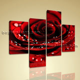 Large Floral Canvas Art Rose Flower Print Contemporary Living Room Four Panels