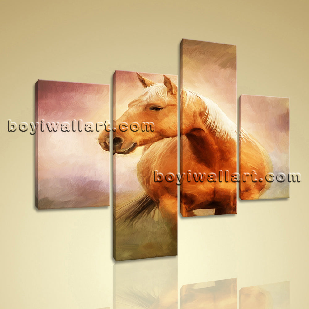 7d408bb96e6 Large Animal Picture Horse Wall Art Home Decor Living Room Four Panels print