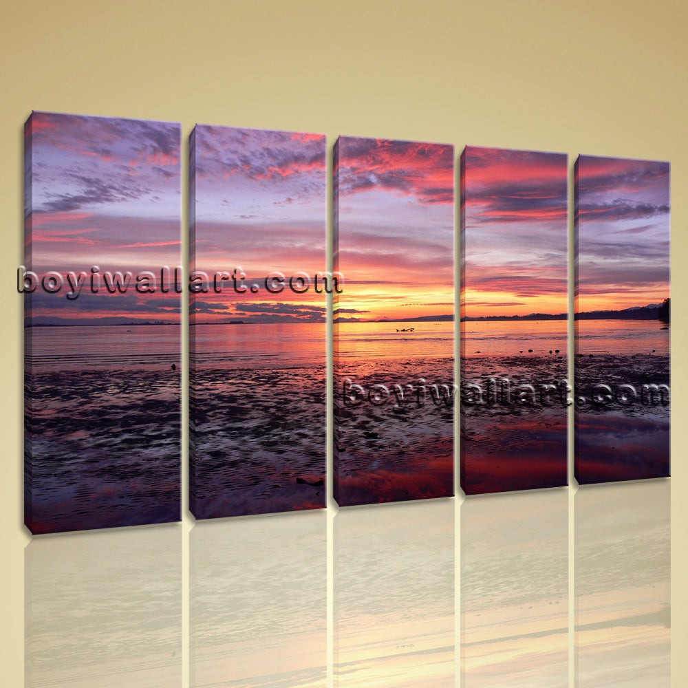 Large Contemporary Sunset Seascape Beach Hd Picture Print On Canvas Ocean