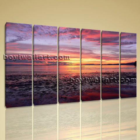 X Large Wall Art Prints On Canvas Contemporary Sunset Seascape Decorative Panels