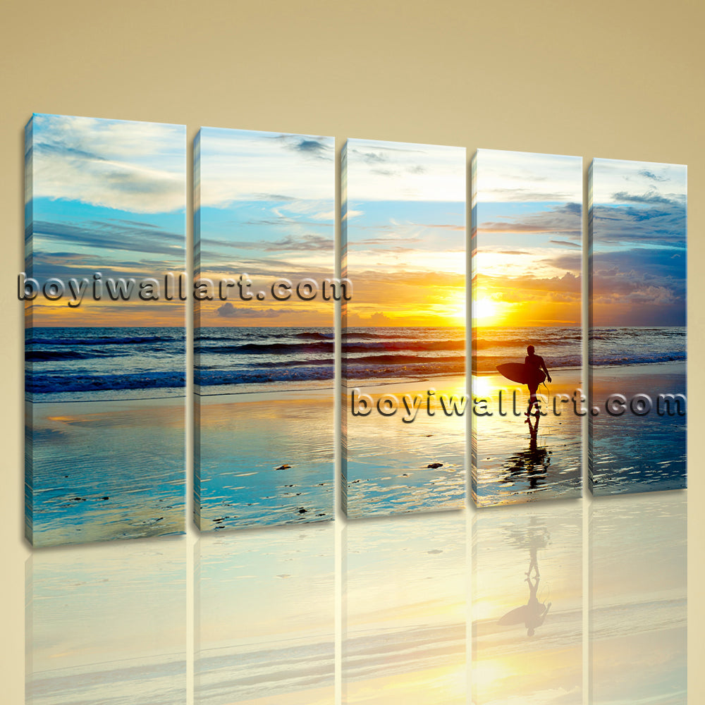 Large Contemporary Wall Art Sunset Landscape Print On Canvas Home Decor Blue