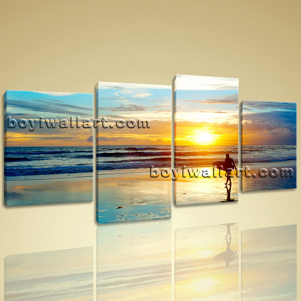 X Large Wall Art Prints On Canvas 4 Panels Decorative Sunset ...