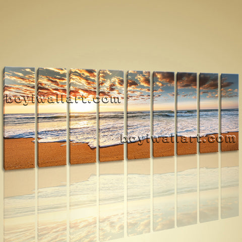 Extra Huge Hd Prints Contemporary Seascape Sunset Canvas Wall Art Framed Large
