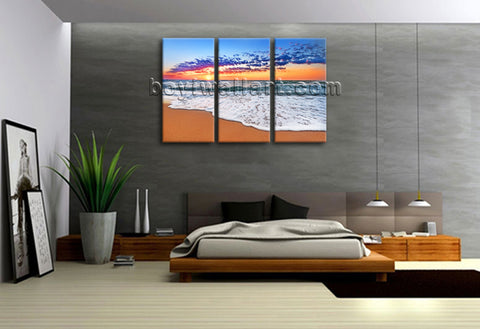 Large Canvas Print Seascape Sunset Ocean Beach Wall Art Framed Contemporary
