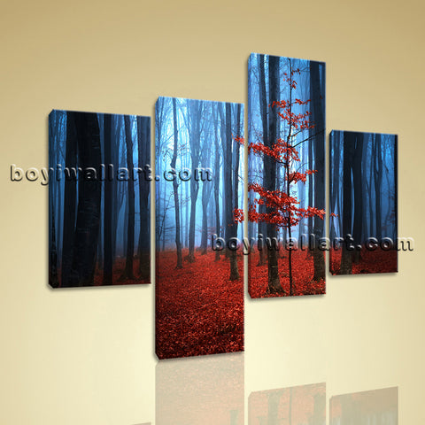 Large Landscape Print Forest Picture Home Decor Living Room 4 Panels Giclee