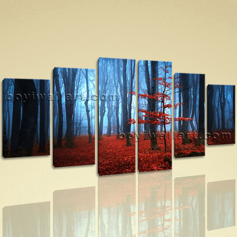 Large Landscape Picture Forest Hd Print Wall Art Dining Room Hexaptych Panels
