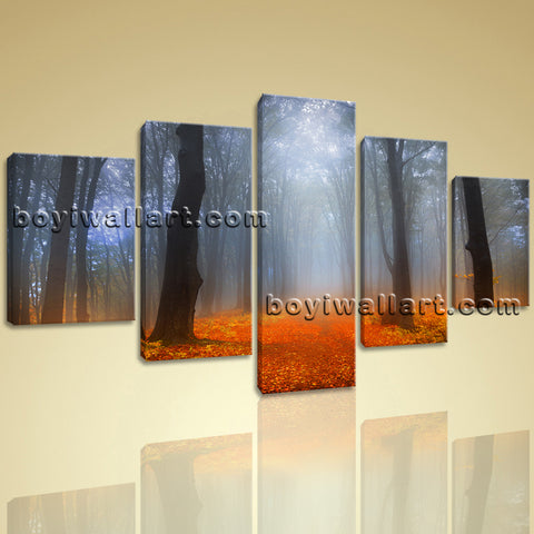 Stretched Large Prints Canvas Tree Landscape Sunset Forest Picture Abstract Art