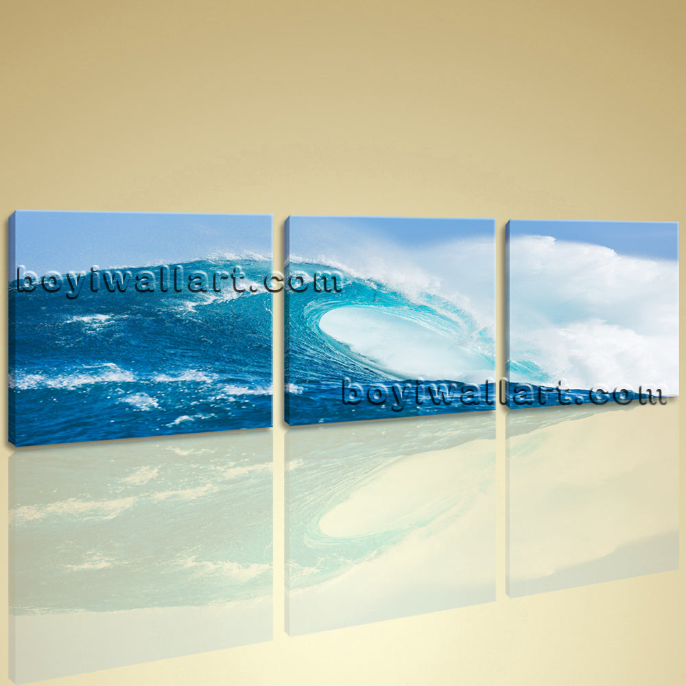 Big Canvas Wall Art Giclee Prints Ready To Hang 3 Pieces Contemporary Seascape