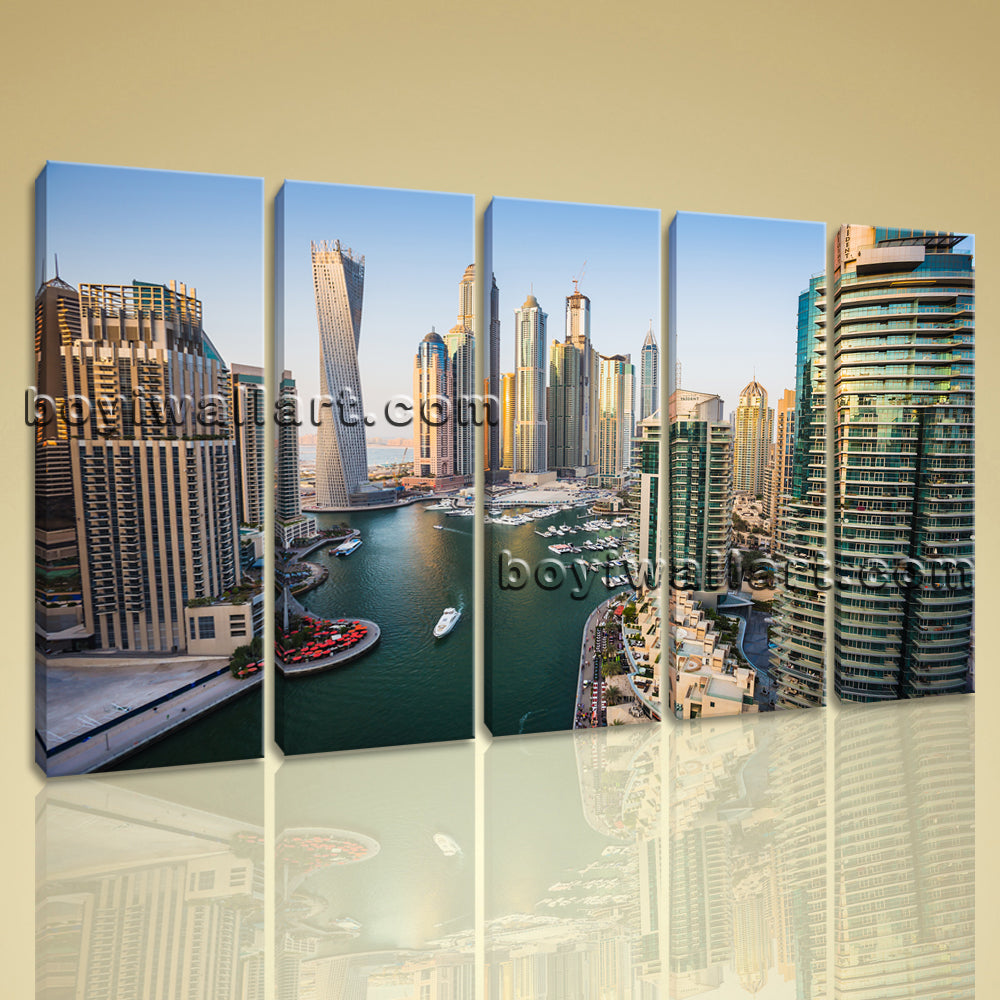 Beautiful Cityscape Of Dubai Contemporary Wall Art Canvas Print 5 Pieces Picture