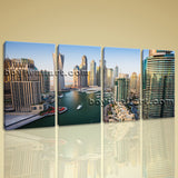 Beautiful Cityscape Of Dubai Contemporary Wall Art Canvas Print 4 Pieces Picture