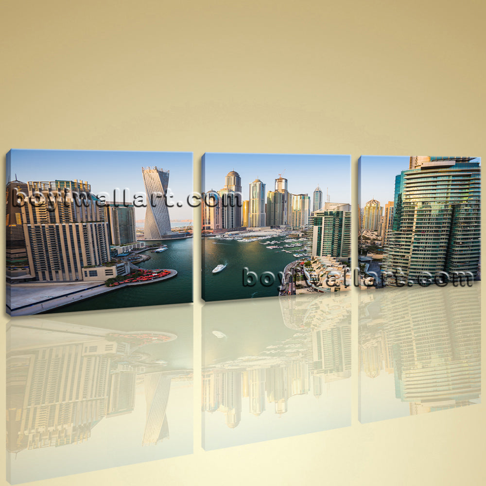 Big Modern Canvas Wall Art Giclee Prints Ready To Hang 3 Pieces Dubai Cityscape