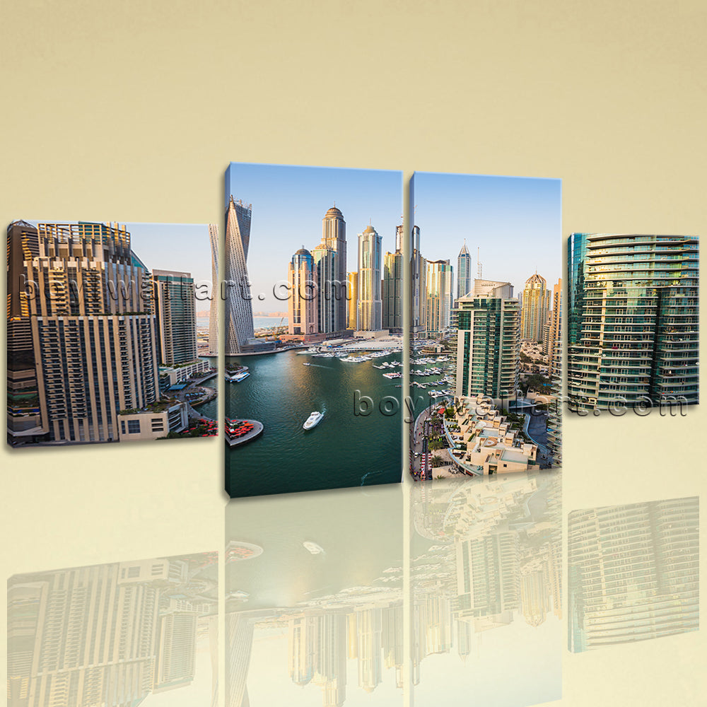 Large Cityscape Picture Dubai Canvas Art Dining Room Tetraptych Panels print