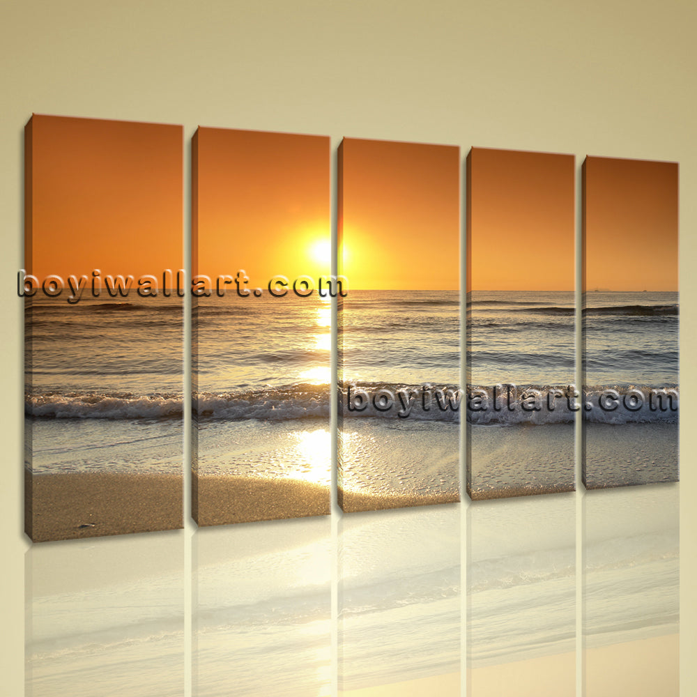Large Canvas Print Landscape Sunset Glow Abstract Contemporary Wall Art Framed
