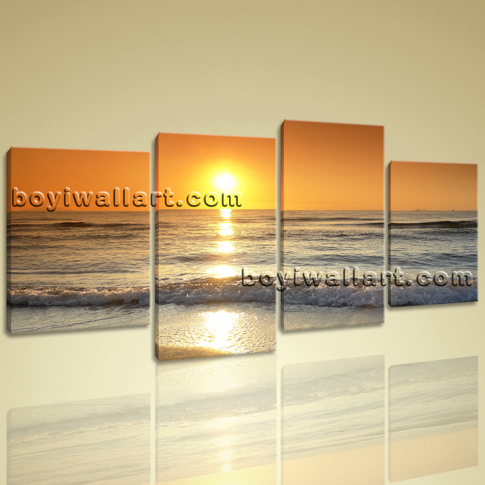 Large Canvas Print Seascape Sunset Glow Abstract Modern Wall Art Ready To Hang