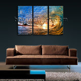 3 Panels Tropical Beach Sunset Canvas Print Sea Ocean Waves Wall Art Home Decor