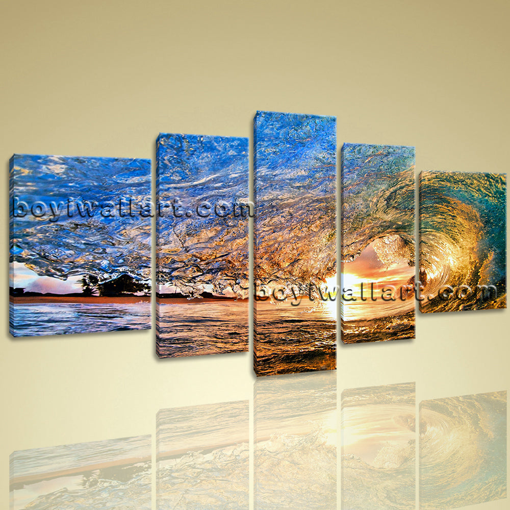 Large Beauty Wave Sea View Wall Art Livingroom Canvas Printing Painting Picture