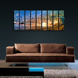 Huge Wave Ocean Beach Sea Surf Water Contemporary Sunset Wall Art Print Framed
