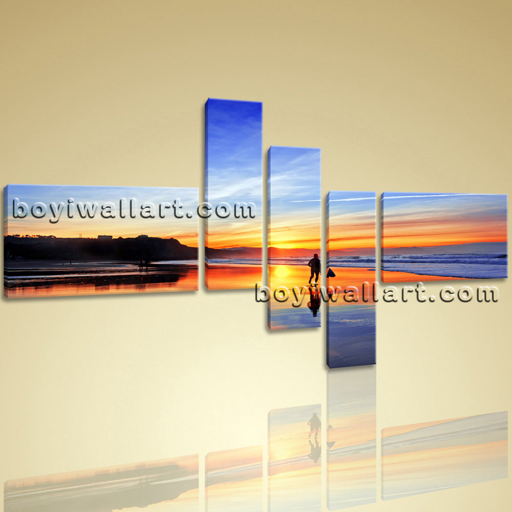 Big Canvas Wall Art Prints Landscape Contemporary Seascape Sunset Glow Framed