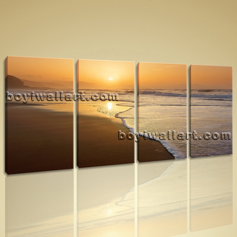 Large Canvas Print Landscape Sunset Glow Contemporary Wall Art Framed 4 Panels