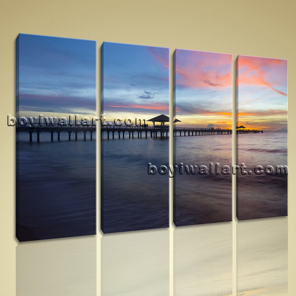 Large Canvas Print Seascape Sunrise Ocean Beach Wall Art Framed Contemporary