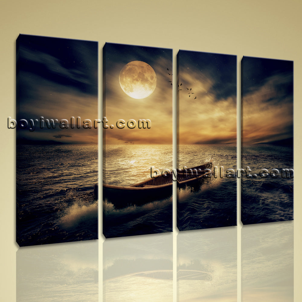 Large Canvas Print Abstract Modern Wall Art Moon Landscape Night Beach Framed