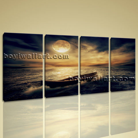 Modern Art Print On Canvas Home Wall Decor Abstract The Moon 4 Pcs Stretched