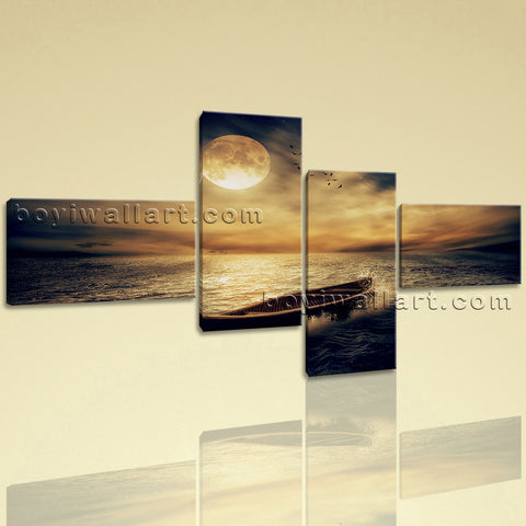 New Premium Landscape Wall Art Print On Canvas Moon Night Abstract Artwork