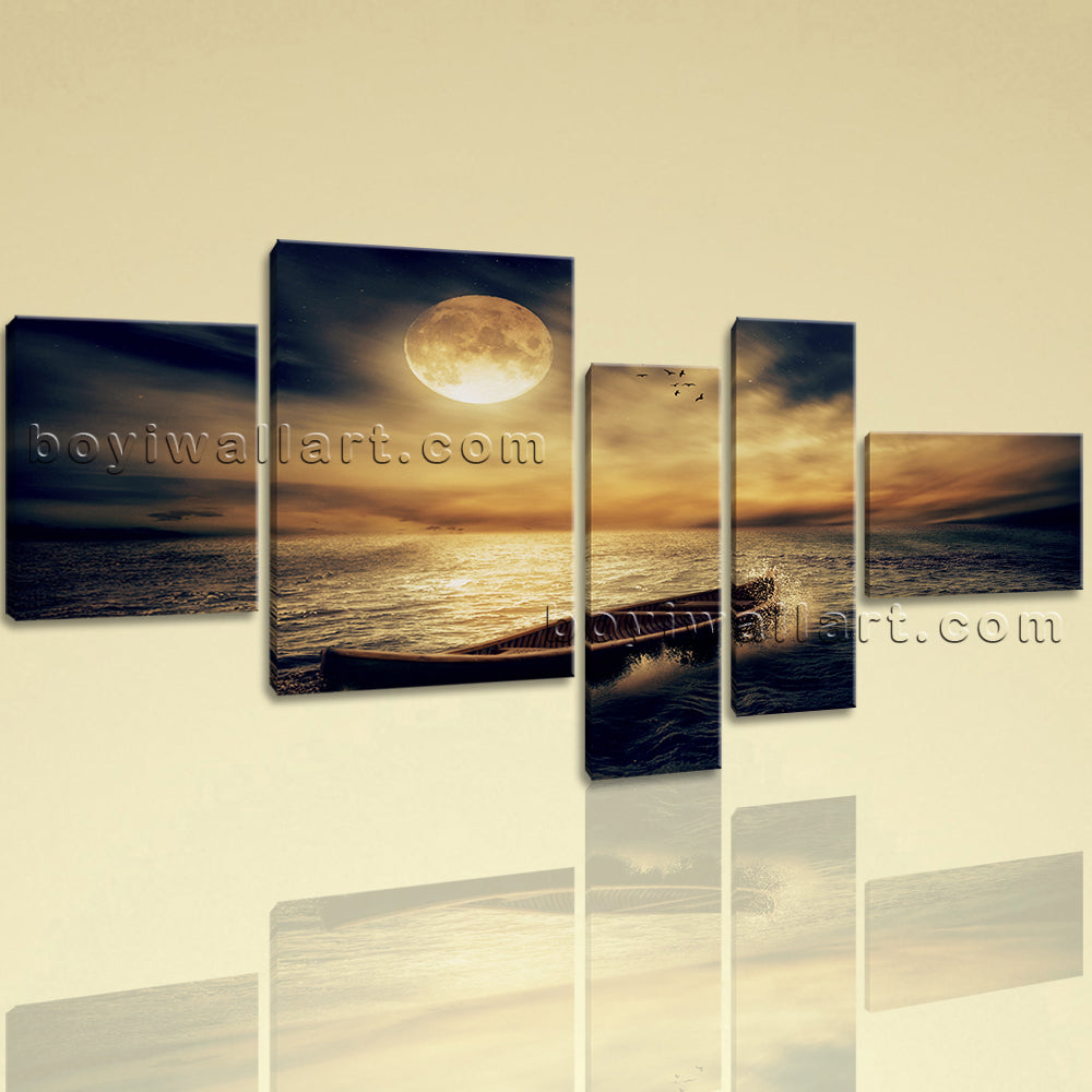 Extra Large Seascape Hd Print Moon Wall Decor Painting Bedroom Five ...