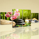 Large Feng Shui Painting Zen Wall Decor Dining Room Four Panels Canvas Print