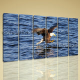 Large Canvas Print Wall Art Office Room Decor Flying Eagle Catching Fish Huge