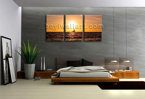 3 Panels Hd Prints Seascape Sunet Wall Art On Canvas Ready To Hang Home Decor