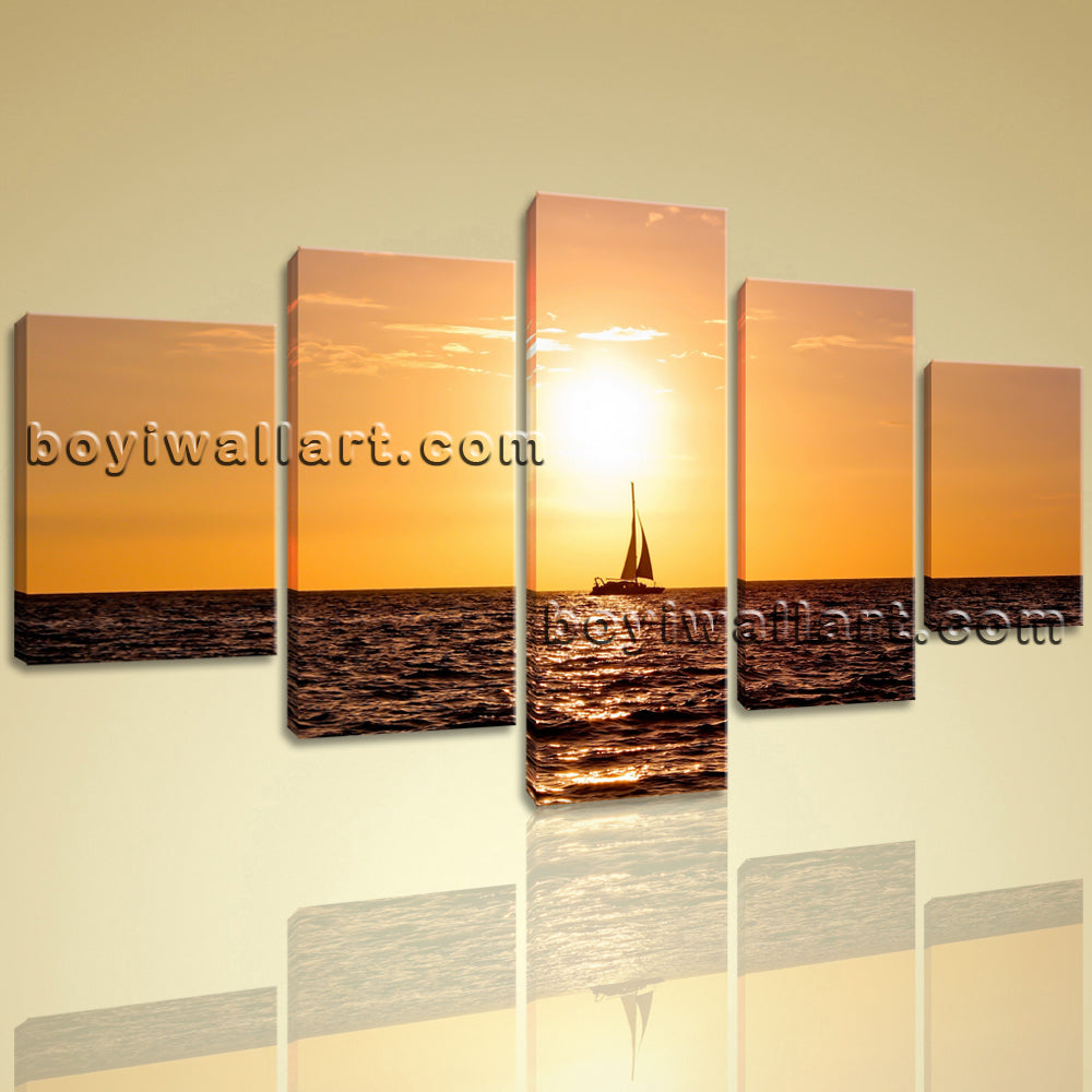 Large Contemporary Seascape Wall Art On Canvas Peaceful Picture Home Decor