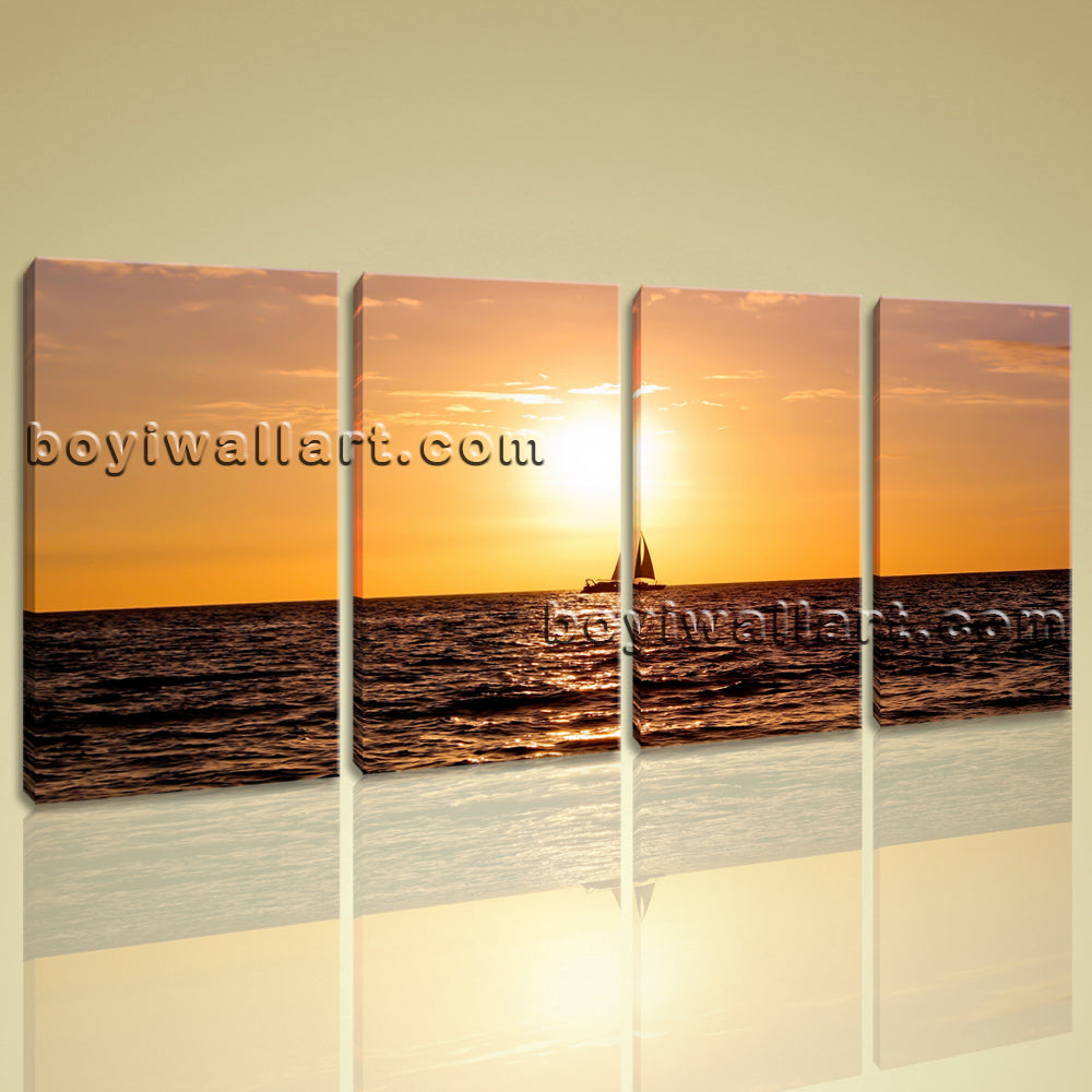 Large Sunset Landscape On Canvas Wall Art Prints Contemporary Ocean ...