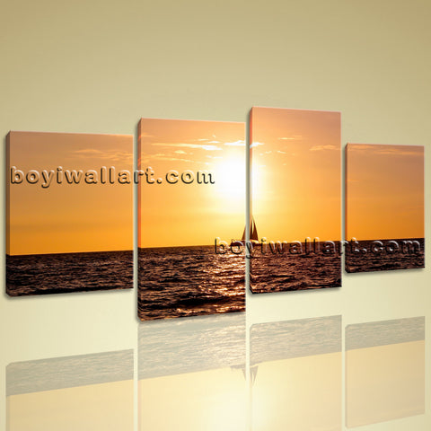 X Large Wall Art Prints On Canvas 4 Panels Decorative Sunset Landscape Peaceful